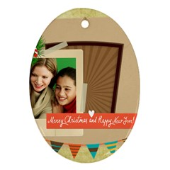Merry Christmas By Merry Christmas   Oval Ornament (two Sides)   Tul98juoehf8   Www Artscow Com Back