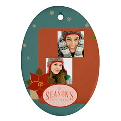 Merry Christmas By Merry Christmas   Oval Ornament (two Sides)   Xlfqtu0eq6uh   Www Artscow Com Front