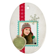 Merry Christmas By Merry Christmas   Oval Ornament (two Sides)   S630n403dqk3   Www Artscow Com Front