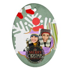Merry Christmas By Merry Christmas   Oval Ornament (two Sides)   Ccnpsirhy1h4   Www Artscow Com Front