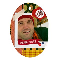 Merry Christmas By Merry Christmas   Oval Ornament (two Sides)   Sjmanm5qr95s   Www Artscow Com Front