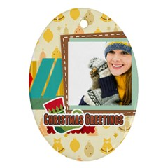 Merry Christmas By Merry Christmas   Oval Ornament (two Sides)   D6gprpjdwfcr   Www Artscow Com Front
