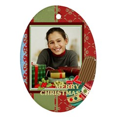 Merry Christmas By Merry Christmas   Oval Ornament (two Sides)   Bzu30b3ihjki   Www Artscow Com Front