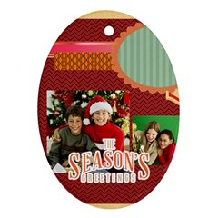 Merry Christmas By Merry Christmas   Oval Ornament (two Sides)   Bugt1be4jqnr   Www Artscow Com Front