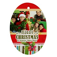 Merry Christmas By Merry Christmas   Oval Ornament (two Sides)   Ud5v357tmnfk   Www Artscow Com Front