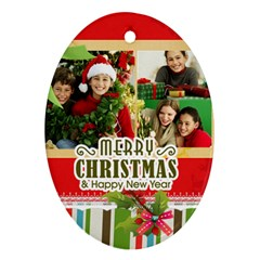 Merry Christmas By Merry Christmas   Oval Ornament (two Sides)   Ud5v357tmnfk   Www Artscow Com Back
