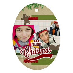 Merry Christmas By Merry Christmas   Oval Ornament (two Sides)   Ysse3mul42en   Www Artscow Com Front