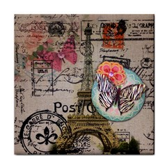 Floral Scripts Butterfly Eiffel Tower Vintage Paris Fashion Ceramic Tile by chicelegantboutique