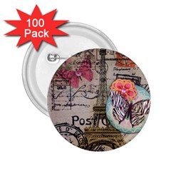 Floral Scripts Butterfly Eiffel Tower Vintage Paris Fashion 2 25  Button (100 Pack) by chicelegantboutique