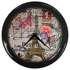 Floral Scripts Butterfly Eiffel Tower Vintage Paris Fashion Wall Clock (black) by chicelegantboutique