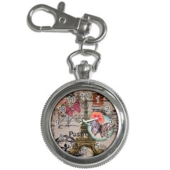 Floral Scripts Butterfly Eiffel Tower Vintage Paris Fashion Key Chain & Watch by chicelegantboutique