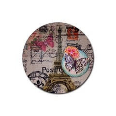 Floral Scripts Butterfly Eiffel Tower Vintage Paris Fashion Drink Coaster (round) by chicelegantboutique