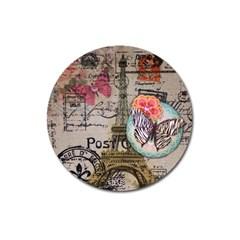 Floral Scripts Butterfly Eiffel Tower Vintage Paris Fashion Magnet 3  (round) by chicelegantboutique