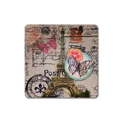 Floral Scripts Butterfly Eiffel Tower Vintage Paris Fashion Magnet (square) by chicelegantboutique