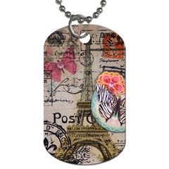 Floral Scripts Butterfly Eiffel Tower Vintage Paris Fashion Dog Tag (two Sided)  by chicelegantboutique