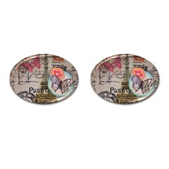 Floral Scripts Butterfly Eiffel Tower Vintage Paris Fashion Cufflinks (oval) by chicelegantboutique