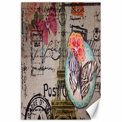 Floral Scripts Butterfly Eiffel Tower Vintage Paris Fashion Canvas 20  X 30  (unframed)