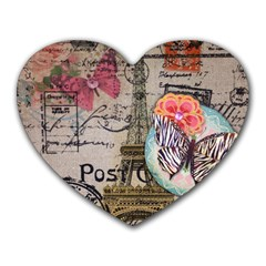 Floral Scripts Butterfly Eiffel Tower Vintage Paris Fashion Mouse Pad (heart) by chicelegantboutique