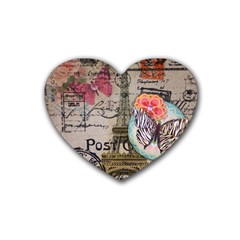 Floral Scripts Butterfly Eiffel Tower Vintage Paris Fashion Drink Coasters (heart) by chicelegantboutique