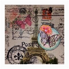 Floral Scripts Butterfly Eiffel Tower Vintage Paris Fashion Glasses Cloth (medium) by chicelegantboutique