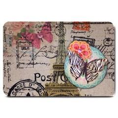 Floral Scripts Butterfly Eiffel Tower Vintage Paris Fashion Large Door Mat