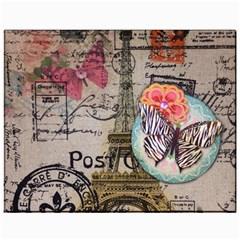 Floral Scripts Butterfly Eiffel Tower Vintage Paris Fashion Canvas 11  X 14  (unframed)