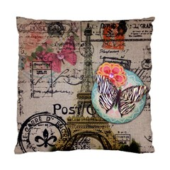 Floral Scripts Butterfly Eiffel Tower Vintage Paris Fashion Cushion Case (single Sided)  by chicelegantboutique