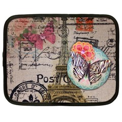 Floral Scripts Butterfly Eiffel Tower Vintage Paris Fashion Netbook Case (xxl)
