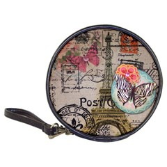 Floral Scripts Butterfly Eiffel Tower Vintage Paris Fashion Cd Wallet by chicelegantboutique