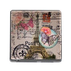 Floral Scripts Butterfly Eiffel Tower Vintage Paris Fashion Memory Card Reader With Storage (square) by chicelegantboutique