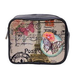 Floral Scripts Butterfly Eiffel Tower Vintage Paris Fashion Mini Travel Toiletry Bag (Two Sides)