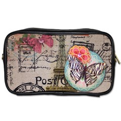 Floral Scripts Butterfly Eiffel Tower Vintage Paris Fashion Travel Toiletry Bag (one Side) by chicelegantboutique