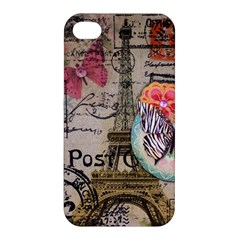 Floral Scripts Butterfly Eiffel Tower Vintage Paris Fashion Apple Iphone 4/4s Hardshell Case by chicelegantboutique