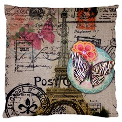 Floral Scripts Butterfly Eiffel Tower Vintage Paris Fashion Large Cushion Case (two Sided)  by chicelegantboutique