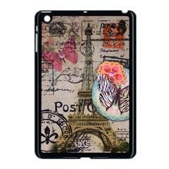 Floral Scripts Butterfly Eiffel Tower Vintage Paris Fashion Apple Ipad Mini Case (black) by chicelegantboutique
