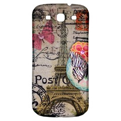 Floral Scripts Butterfly Eiffel Tower Vintage Paris Fashion Samsung Galaxy S3 S Iii Classic Hardshell Back Case by chicelegantboutique