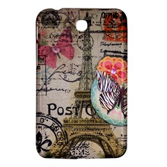 Floral Scripts Butterfly Eiffel Tower Vintage Paris Fashion Samsung Galaxy Tab 3 (7 ) P3200 Hardshell Case  by chicelegantboutique