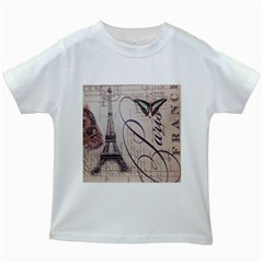 Vintage Scripts Floral Scripts Butterfly Eiffel Tower Vintage Paris Fashion Kids' T Shirt (white) by chicelegantboutique