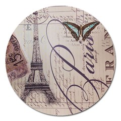 Vintage Scripts Floral Scripts Butterfly Eiffel Tower Vintage Paris Fashion Magnet 5  (round) by chicelegantboutique