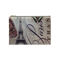 Vintage Scripts Floral Scripts Butterfly Eiffel Tower Vintage Paris Fashion Cosmetic Bag (medium)