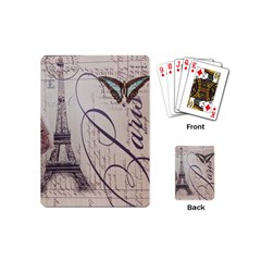 Vintage Scripts Floral Scripts Butterfly Eiffel Tower Vintage Paris Fashion Playing Cards (mini)
