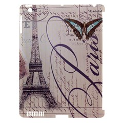 Vintage Scripts Floral Scripts Butterfly Eiffel Tower Vintage Paris Fashion Apple Ipad 3/4 Hardshell Case (compatible With Smart Cover) by chicelegantboutique