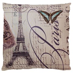Vintage Scripts Floral Scripts Butterfly Eiffel Tower Vintage Paris Fashion Large Cushion Case (single Sided)  by chicelegantboutique