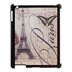 Vintage Scripts Floral Scripts Butterfly Eiffel Tower Vintage Paris Fashion Apple Ipad 3/4 Case (black)