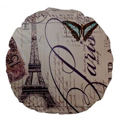 Vintage Scripts Floral Scripts Butterfly Eiffel Tower Vintage Paris Fashion 18  Premium Round Cushion  by chicelegantboutique