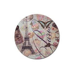 French Pastry Vintage Scripts Floral Scripts Butterfly Eiffel Tower Vintage Paris Fashion Magnet 3  (round) by chicelegantboutique