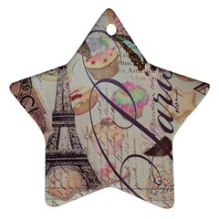 French Pastry Vintage Scripts Floral Scripts Butterfly Eiffel Tower Vintage Paris Fashion Star Ornament (two Sides) by chicelegantboutique