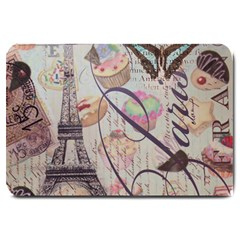French Pastry Vintage Scripts Floral Scripts Butterfly Eiffel Tower Vintage Paris Fashion Large Door Mat by chicelegantboutique