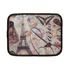 French Pastry Vintage Scripts Floral Scripts Butterfly Eiffel Tower Vintage Paris Fashion Netbook Case (small) by chicelegantboutique