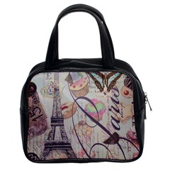 French Pastry Vintage Scripts Floral Scripts Butterfly Eiffel Tower Vintage Paris Fashion Classic Handbag (two Sides) by chicelegantboutique